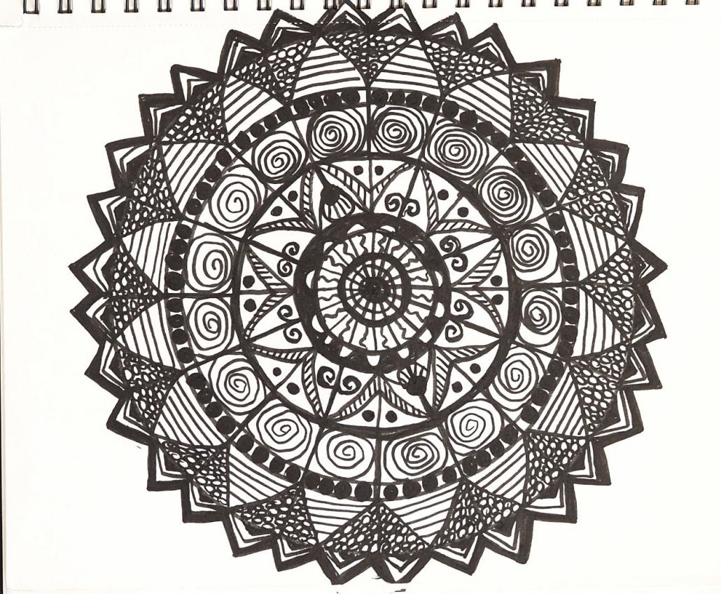 Zeichnung aus einem Kurs mit Angelika Hentschel, Mandala